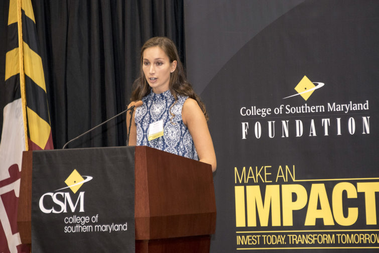 CSM student Allison Mattera, 18, of Huntingtown shares her story at the annual CSM Foundation Scholarship Reception held Oct. 27 at the college's La Plata Campus.