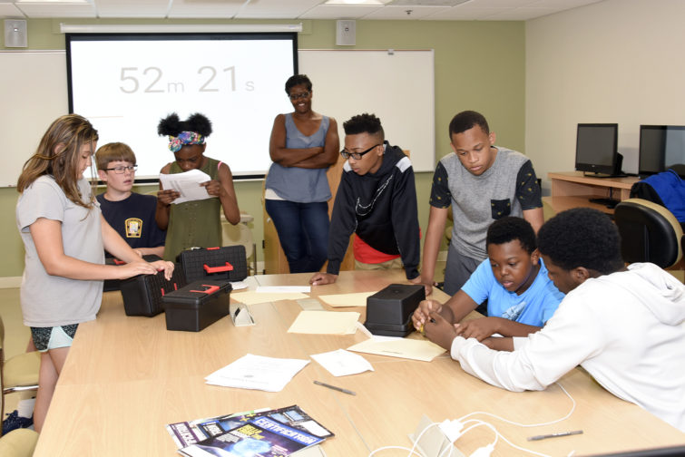 Students participate in a cybersecurity course