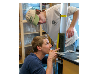 CSM biology students Dylan Weamert, left, and Patrick Bissell prepare sediment samples for analysis at the Chesapeake Biological Laboratory on Solomons Island.